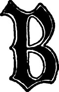 Calligraphic letter &#x201C;B&#x201D; in 15th century gothic style, from Letters &#38; Lettering: A Treatise With 200 Examples (1921)