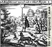 A Blasphemer turned into a black dog