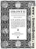 6. Title Page: Orontii Quadrans Astrolabicus Omnibus