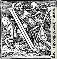 "62v.—Initial capital letter ""U"" from Dance of Death Alphabet"