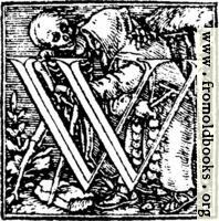 "62w.—Initial capital letter ""W"" from Dance of Death Alphabet."