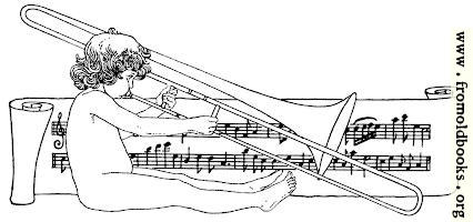 Drawing of naked child playing trombone with scroll of music