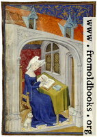 folio 4/recto, illumination, woman writing
