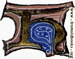 "calligraphy: mediaeval decorative letter ""H"