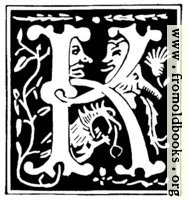 """Decorative initial letter """"K"""" from 16th Century"""