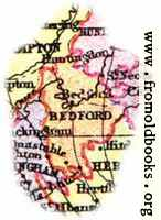 Overview map of Bedfordshire, England
