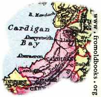 Overview map of Cardigan, Wales