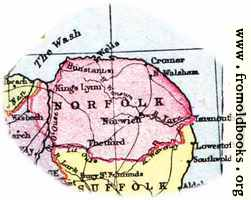 Overview map of Norfolk, England