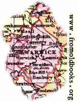 Overview map of Warwickshire, England