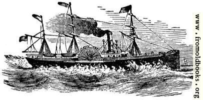 Ornament: steam ship