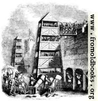 1253.—Breeching Tower; Archers behind their Pavison; Canon, Crossbow-men, &c.