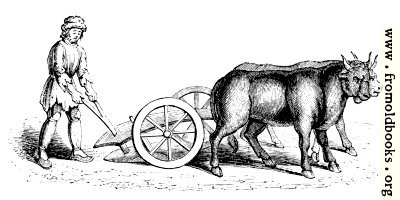 Two-wheeled plough. (From Harleian MS. No. 4374)