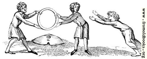 1387.—Leaping through a Hoop. (ANcient MS. engraved in Strutt's Sports)