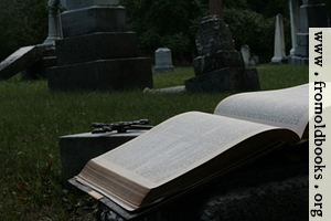 Open Bible and cross in graveyard