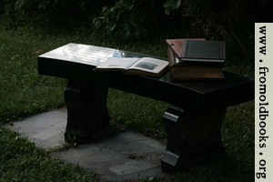 Stone bench with books 2
