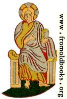 Byzantine Saint seated, with book