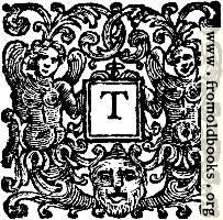 Initial Letter T With Angels and Devil