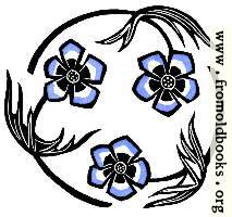 Roundel with stylized blue flowers