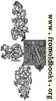 Ornate rococo baroque capital letter M
