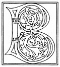 clipart: initial letter B from late 15th century printed book, from Alphabets &#38; Numbers of the Middle Ages (1845)