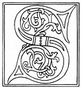 clipart: initial letter S from late 15th century printed book, from Alphabets &#38; Numbers of the Middle Ages (1845)