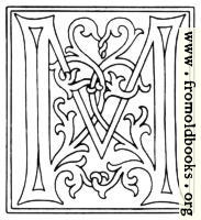 clipart: initial letter M from late 15th century printed book