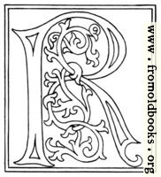 clipart: initial letter R from late 15th century printed book