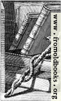 Woodcut: Snake, Magic Wand, Leather Books (detail of portrait of Ebenezer Sibly).