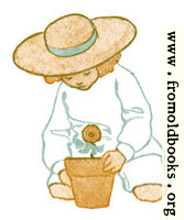 Girl with flower in flowerpot