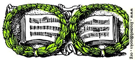 Music book and wreaths