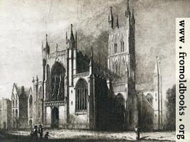 Gloucester Cathedral Old Print - Wallpaper Version