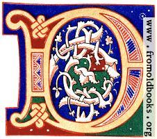 "Decorative initial letter ""D"" from 11th century."