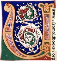 """Decorative initial letter """"U"""" or """"V"""" from 11th century."""