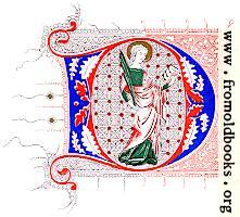Fourteenth-Century illuminated D with saint