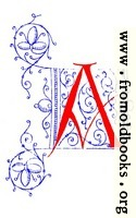 Decorative uncial initial letter A from fifteenth Century Nos. 4 and 5.