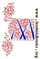 Decorative initial letter M from fifteenth Century Nos. 4 and 5.