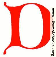 Clip-art: calligraphic decorative initial capital letter D from XIV. Century  No. 1