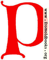 Clip-art: calligraphic decorative initial capital letter P from XIV. Century  No. 1