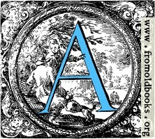 Historiated decorative initial capital letter A in Blue