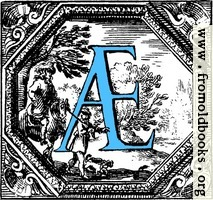 Historiated decorative initial capital letter AE in Blue