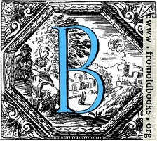 Historiated decorative initial capital letter B in Blue