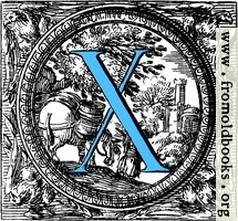 Historiated decorative initial capital letter X in Blue