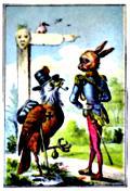 Hobo bird meets aristocrat rabbit