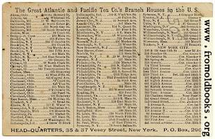 Reverse of A & P trade card