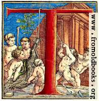 Decorative initial letter T with cherubs hanging a wolf