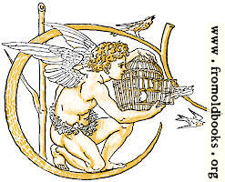 Initial letter C with angel releasing birds from bird-cage