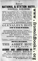 Old Advert: 13: National & Station Hotel; Glenalbyn Hotel; Melrose hotels