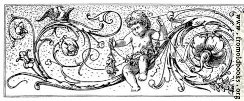 Chapter-head with cherubs, flowers, cines and birds