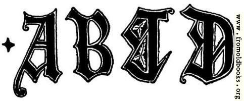 A, B, C, D from English Gothic Letters 15th Century