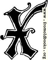 "Calligraphic letter ""X"" in 15th century gothic style"